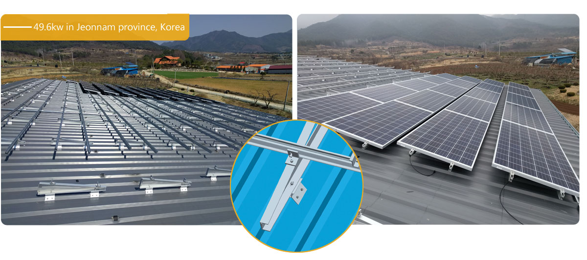 Antaisolar triangle roof solar racking in Korea