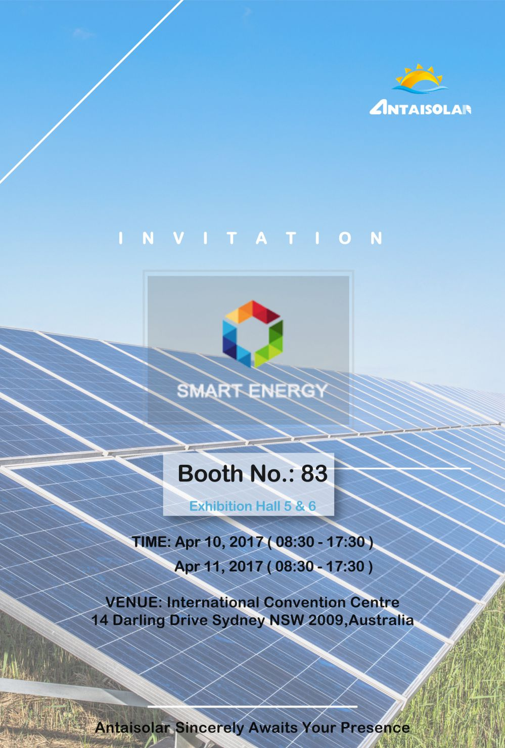 Antaisolar will attend the smart energy in Sydney, Australia
