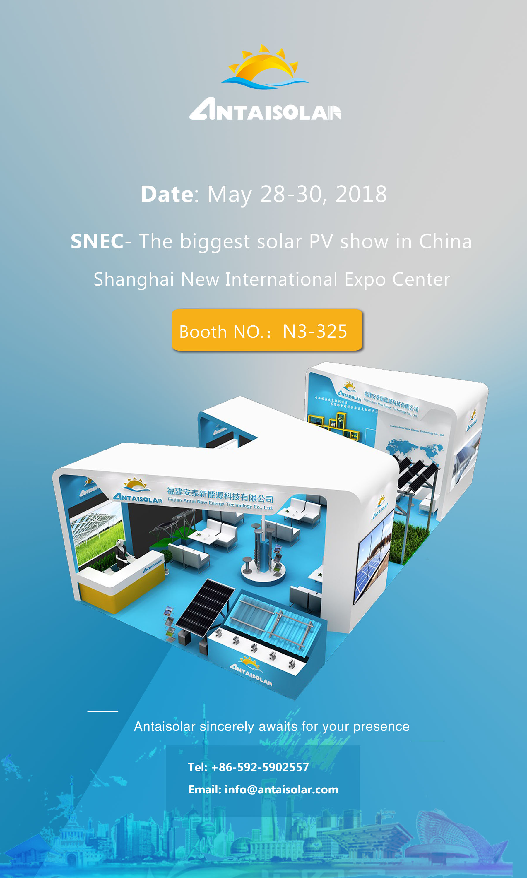 Antaisolar will exhibit the SNEC in China