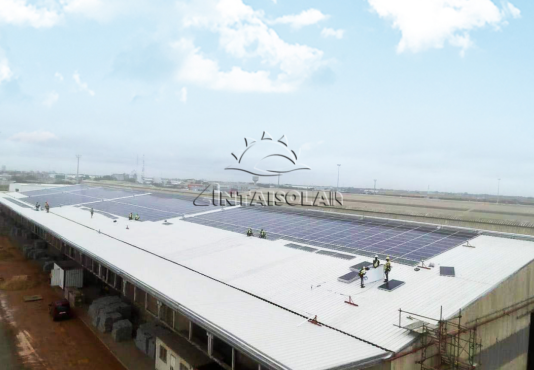 Rooftop solar plant in Africa utilized Antaisolar railless solar mounting system